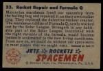 1951 Bowman Jets Rockets and Spacemen #23   Rocket Repair and Formula Q Back Thumbnail