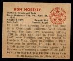 1950 Bowman #81  Ron Northey  Back Thumbnail