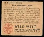 1949 Bowman Wild West #16 B  Indian Customs the Medicine Man Back Thumbnail