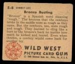 1949 Bowman Wild West #8 E  Bronco Busting Back Thumbnail