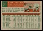 1959 Topps #311  Norm Zauchin  Back Thumbnail