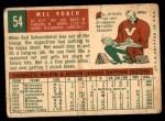 1959 Topps #54  Mel Roach  Back Thumbnail