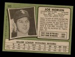 1971 Topps #345  Joe Horlen  Back Thumbnail