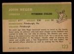 1961 Fleer #123  John Reger  Back Thumbnail