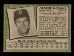 1971 Topps #678  George Thomas  Back Thumbnail