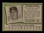 1971 Topps #723  Vincente Romo  Back Thumbnail