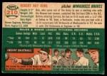 1954 Topps #210  Bob Buhl  Back Thumbnail