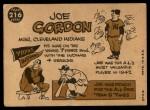 1960 Topps #216  Joe Gordon  Back Thumbnail
