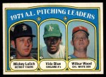 1972 O-Pee-Chee #94   -  Vida Blue / Mickey Lolich / Wilbur Wood AL Pitching Leaders   Front Thumbnail