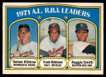 1972 O-Pee-Chee #88   -  Harmon Killebrew / Frank Robinson / Reggie Smith AL RBI Leaders   Front Thumbnail