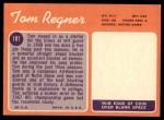 1970 Topps #181  Tom Regner  Back Thumbnail