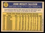 1970 Topps #375  Johnny Callison  Back Thumbnail