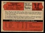 1972 O-Pee-Chee #218  Eddie Kasko  Back Thumbnail