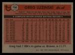 1981 Topps Traded #796 T Greg Luzinski  Back Thumbnail