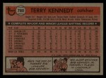 1981 Topps Traded #780 T Terry Kennedy  Back Thumbnail
