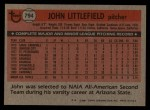 1981 Topps Traded #794 T John Littlefield  Back Thumbnail