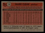1981 Topps Traded #748 T Mark Clear  Back Thumbnail