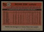 1981 Topps Traded #857 T Richie Zisk  Back Thumbnail