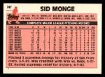 1983 Topps Traded #74 T Sid Monge  Back Thumbnail
