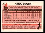 1983 Topps Traded #14 T Greg Brock  Back Thumbnail