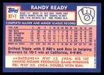 1984 Topps Traded #97  Randy Ready  Back Thumbnail