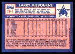 1984 Topps Traded #79  Larry Milbourne  Back Thumbnail