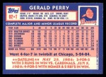 1984 Topps Traded #92  Gerald Perry  Back Thumbnail