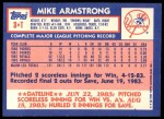 1984 Topps Traded #3  Mike Armstrong  Back Thumbnail