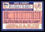 1984 Topps Traded #86  Mike O'Berry  Back Thumbnail