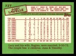 1985 Topps Traded #72 T Gary Lavelle  Back Thumbnail