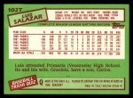 1985 Topps Traded #102 T Luis Salazar  Back Thumbnail