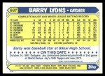 1987 Topps Traded #68 T Barry Lyons  Back Thumbnail