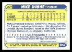 1987 Topps Traded #30 T Mike Dunne  Back Thumbnail