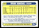 1987 Topps Traded #44 T Brad Havens  Back Thumbnail