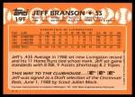 1988 Topps Traded #19 T  -  Jeff Branson Team USA Back Thumbnail