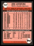 1989 Topps Traded #70 T Jim LeFebvre  Back Thumbnail
