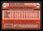 1989 Topps Traded #45 T Erik Hanson  Back Thumbnail