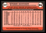 1989 Topps Traded #59 T Terry Kennedy  Back Thumbnail