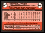 1989 Topps Traded #14 T Jeff Brantley  Back Thumbnail