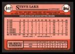 1989 Topps Traded #65 T Steve Lake  Back Thumbnail