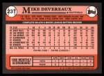1989 Topps Traded #23 T Mike Devereaux  Back Thumbnail