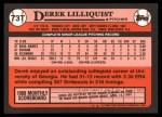 1989 Topps Traded #73 T Derek Lilliquis  Back Thumbnail