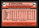 1989 Topps Traded #56 T Chris James  Back Thumbnail