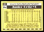 1990 Topps Traded #85 T Junior Ortiz  Back Thumbnail