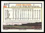 1992 Topps Traded #83 T Dave Nilsson  Back Thumbnail