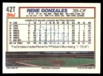 1992 Topps Traded #42 T Rene Gonzales  Back Thumbnail