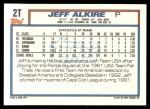 1992 Topps Traded #2 T  -  Jeff Alkire Team USA Back Thumbnail