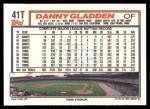 1992 Topps Traded #41 T Danny Gladden  Back Thumbnail