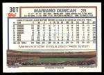 1992 Topps Traded #30 T Mariano Duncan  Back Thumbnail