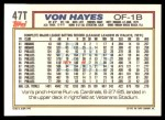 1992 Topps Traded #47 T Von Hayes  Back Thumbnail